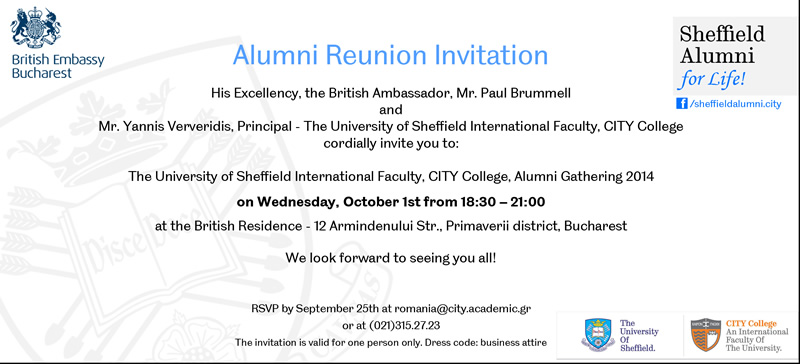 Alumni Reunion Bringing Sheffield and Thessaloniki in Bucharest