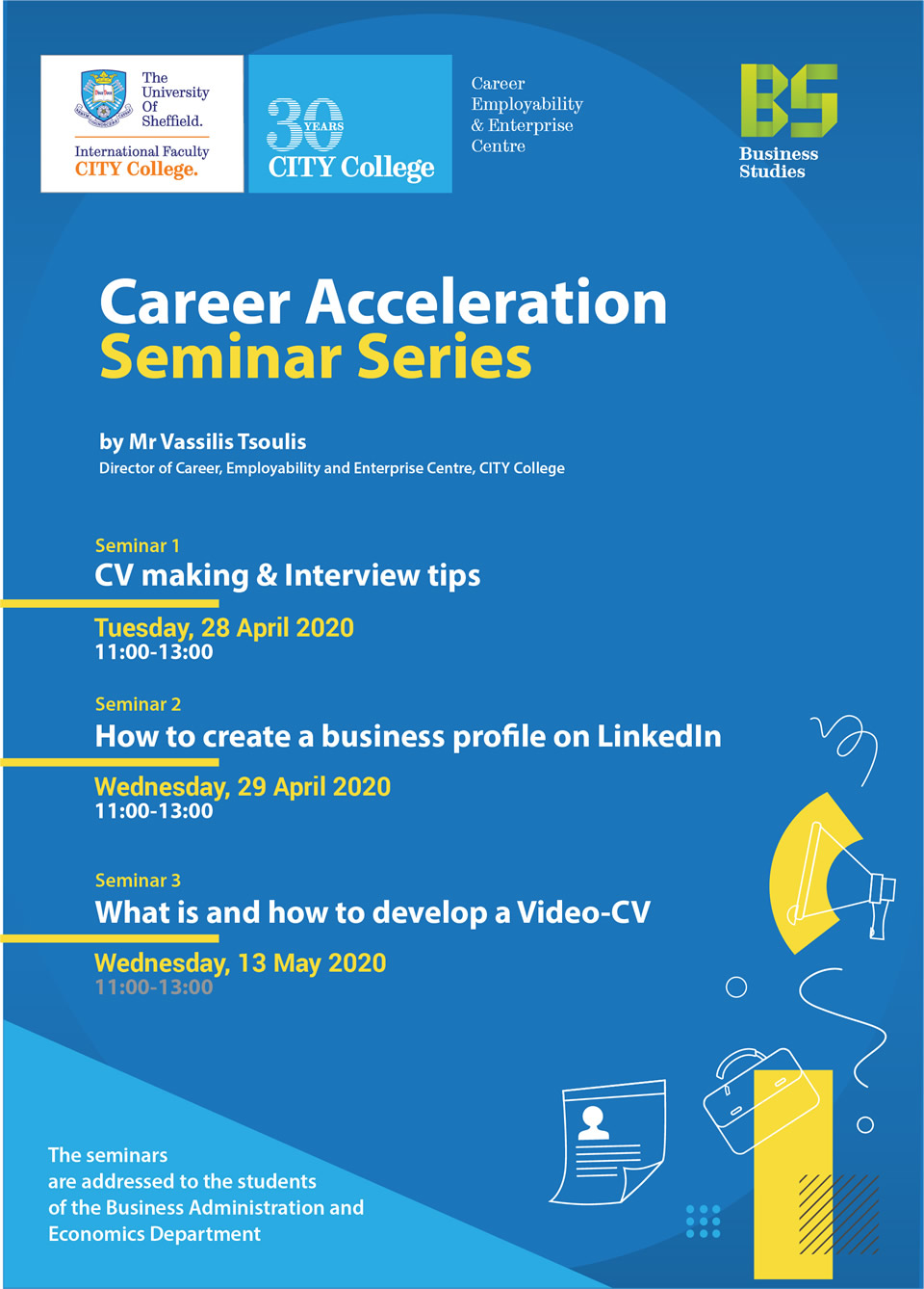 Career Acceleration Seminar Series by CITY College Business Administration and Economics Department Department