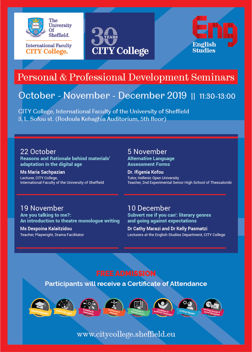 Personal & Professional Development Seminars 2019 by CITY College International Faculty's English Studies Dept