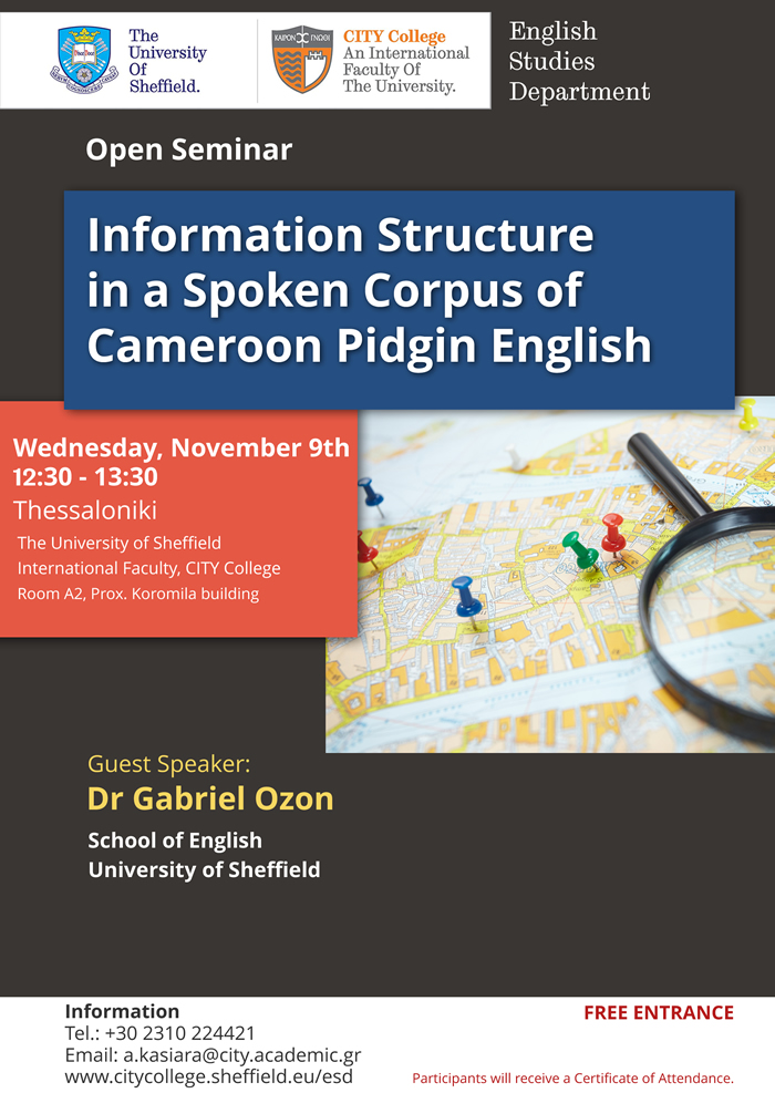 Open seminar information structure in a spoken corpus of cameroon open seminar information structure in a spoken corpus of cameroon pidgin english publicscrutiny