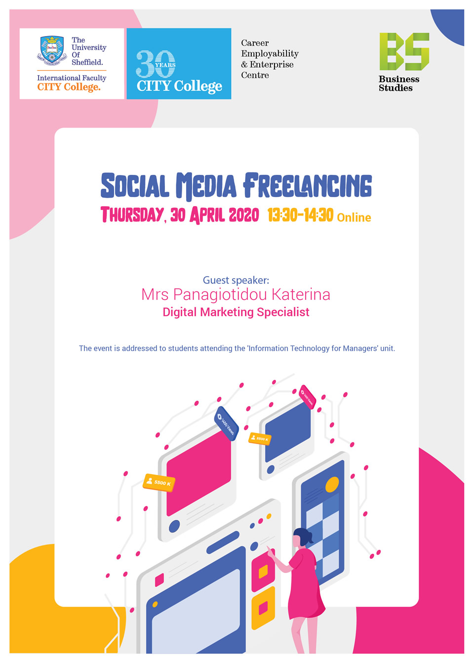 Social Media Freelancing Seminar Online by CITY College Business Administration and Economics Department Department