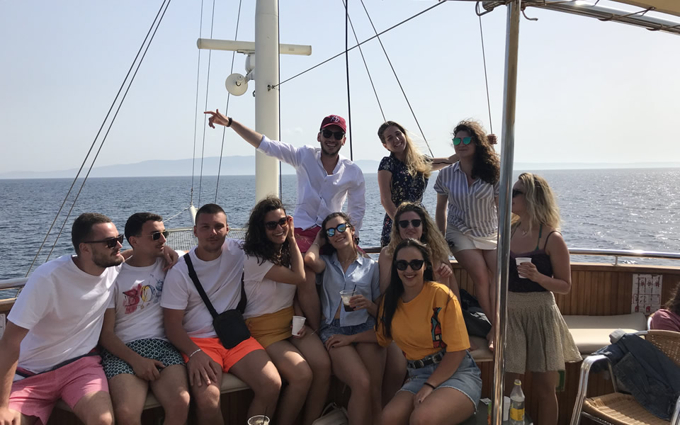 Our students celebrated this year's 1st of May holiday with a boat trip to Chalkidiki, organised by the International Faculty Students' Union (CSU)