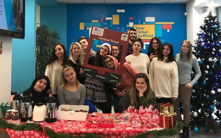 Students of the Sunrise Movement - the student club of the International Faculty CITY College dedicated to social action - run a Christmas Bazaar for fund raising in order to support the Children's Village Plagiari