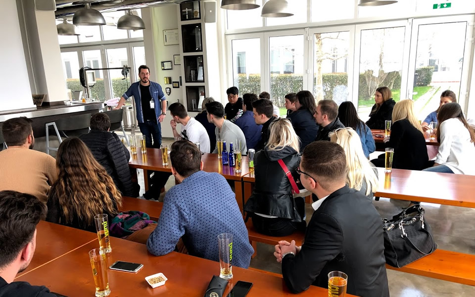 Company visit with a taste of Vergina beer and Tuvunu herbal tea for CITY College International Faculty business students