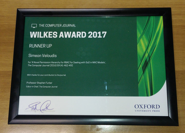 Congratulations are in order for Dr Simeon Veloudis on receiving the runner-up Wilkes Award