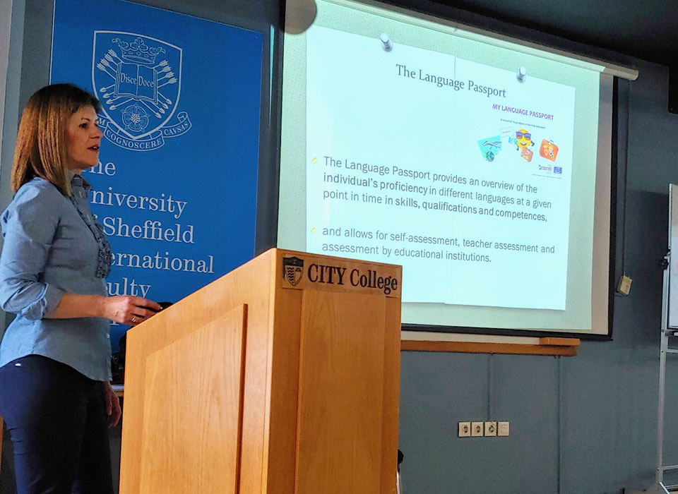 Seminar titled 'Alternative Language Assessment Forms', by Dr Ifigenia Kofou, at CITY College, International Faculty of the University of Sheffield