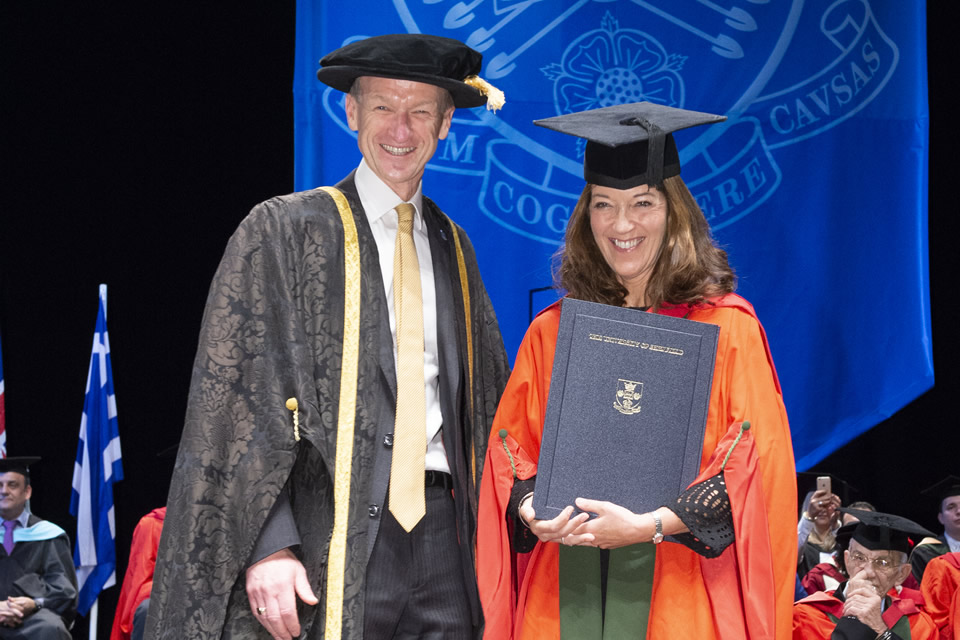 Honorary Degree of Doctor of Letters was conferred upon Ms Victoria Hislop, Author - The University of Sheffield International Faculty CITY College Graduation Ceremony 2018