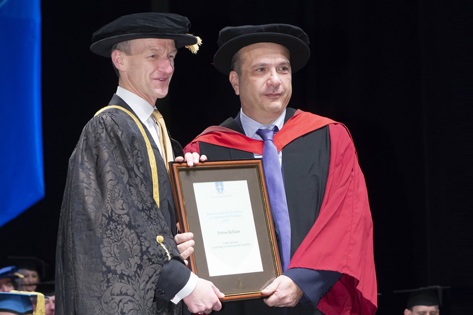 Prof. Petros Kefalas was honoured to receive and a 'Senate 'Award of Leadership in Learning and Teaching'