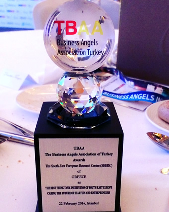 Our research centre, SEERC, received the Best Think-Tank in South East Europe Award at the World Business Angels Investment Forum that took place 21-23 February, 2016, Istanbul, Turkey.