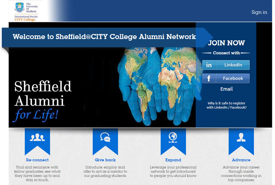 Join the Sheffield@CITY College Alumni Network