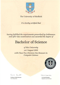Degree and formal qualifications the university of sheffield bachelor of science degree yadclub Image collections