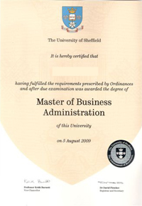 Degree and formal qualifications the university of sheffield master of business administration degree yadclub Image collections